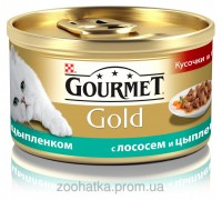 Gourmet Gold (Гурме Голд) Кусочки в подливе с лососем и цыпленком
